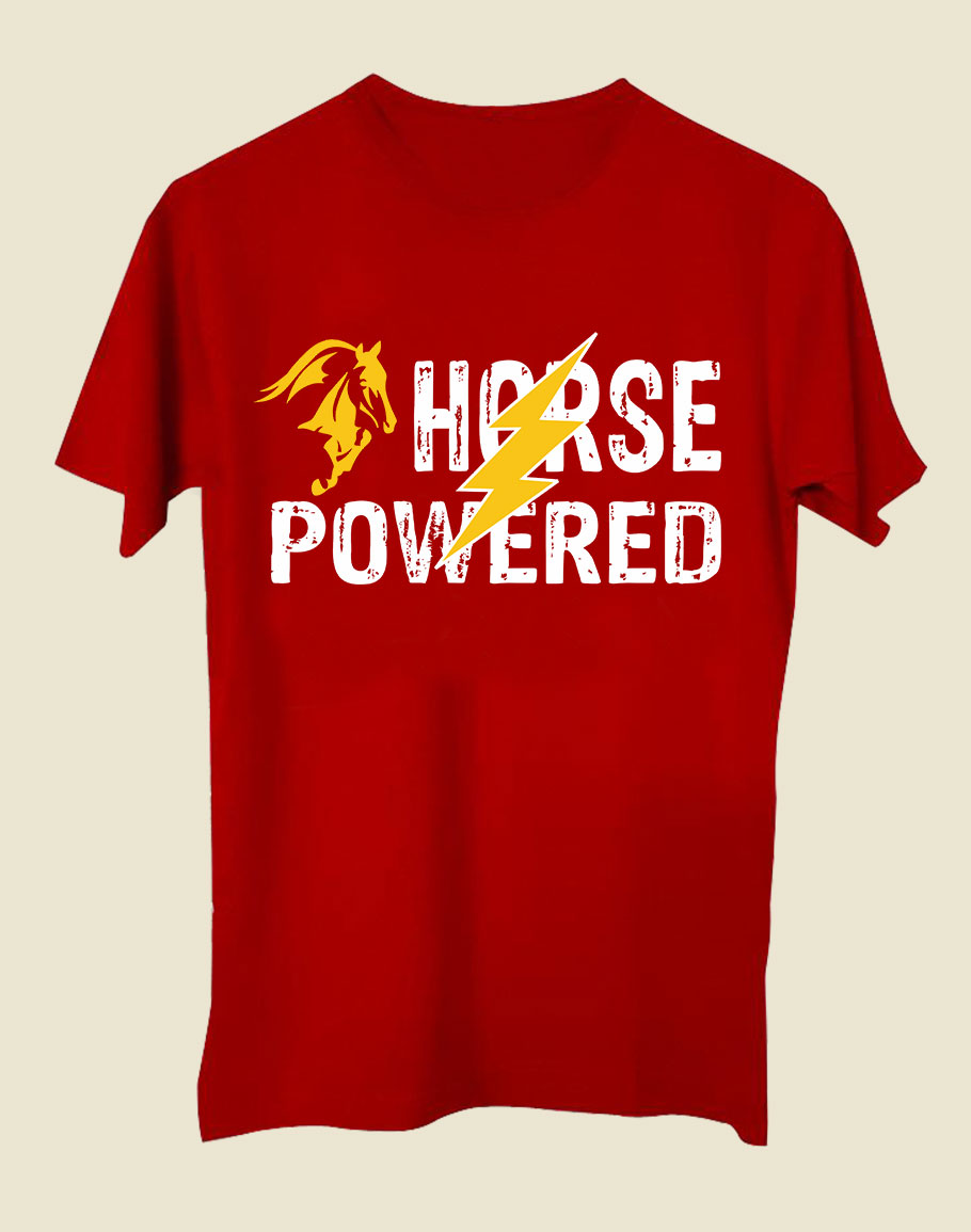Horse Power Half Sleeve T-Shirt Red