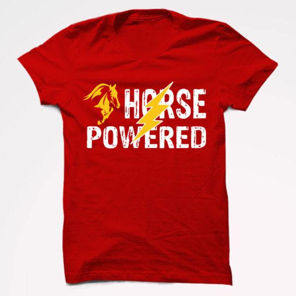 Horse Power Half Sleeve T-Shirt Red
