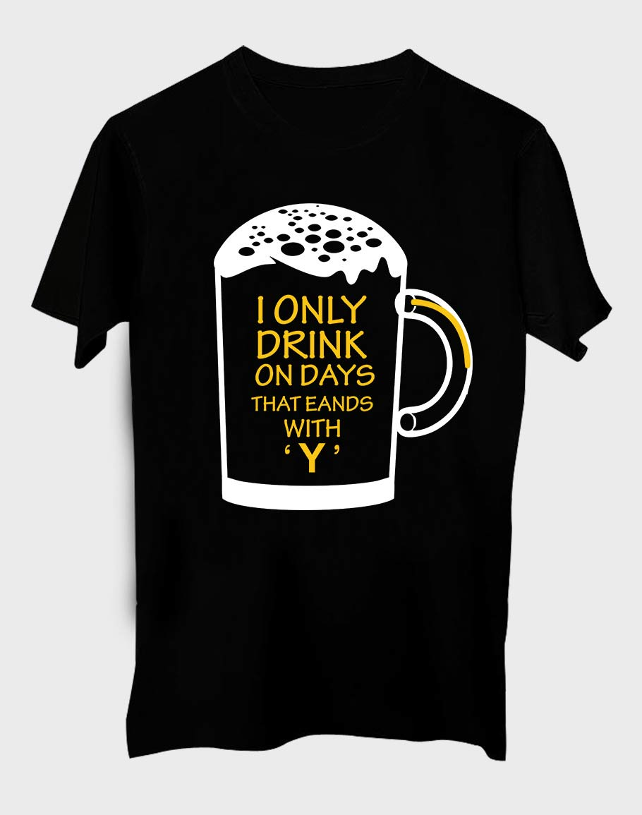 Drink Only Half Sleeve T-Shirt Black