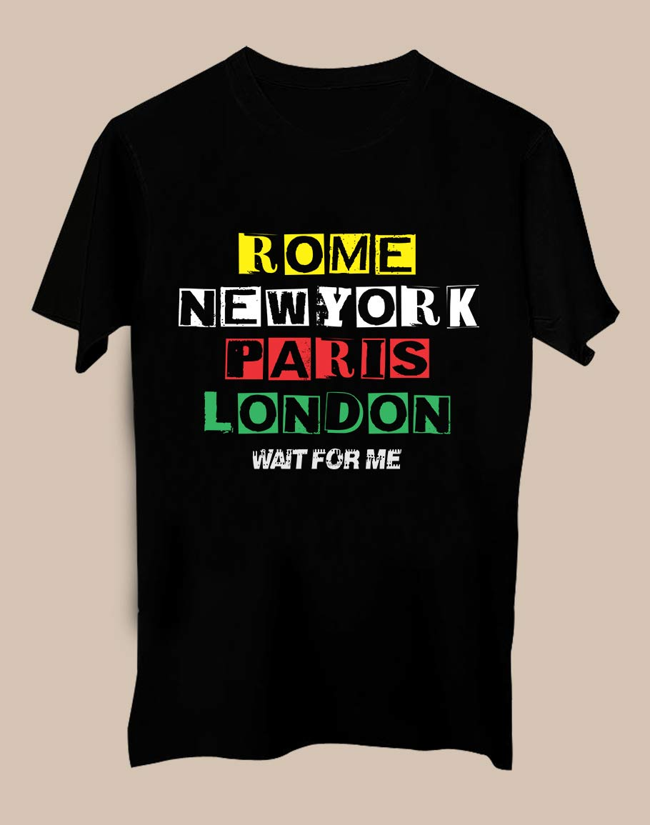 RNPL Wait Half Sleeve T-Shirt Black
