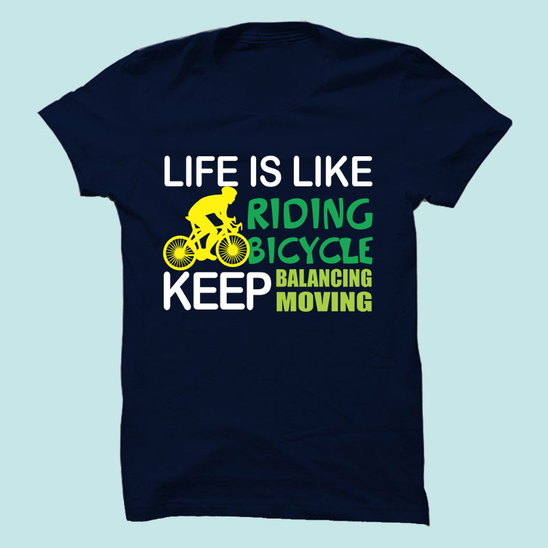 Life is Like Half Sleeve T-Shirt Navy Blue