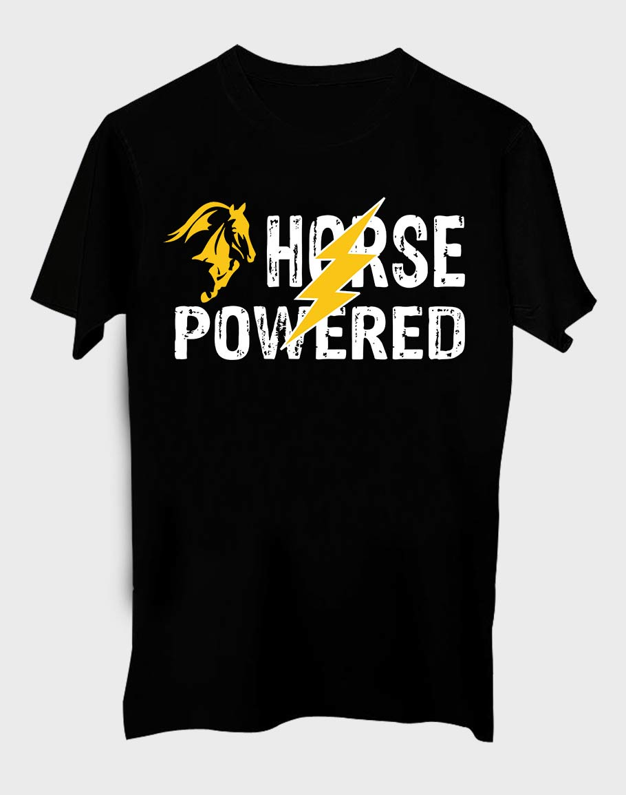 Horse Powerd Half Sleeve T-Shirt Black
