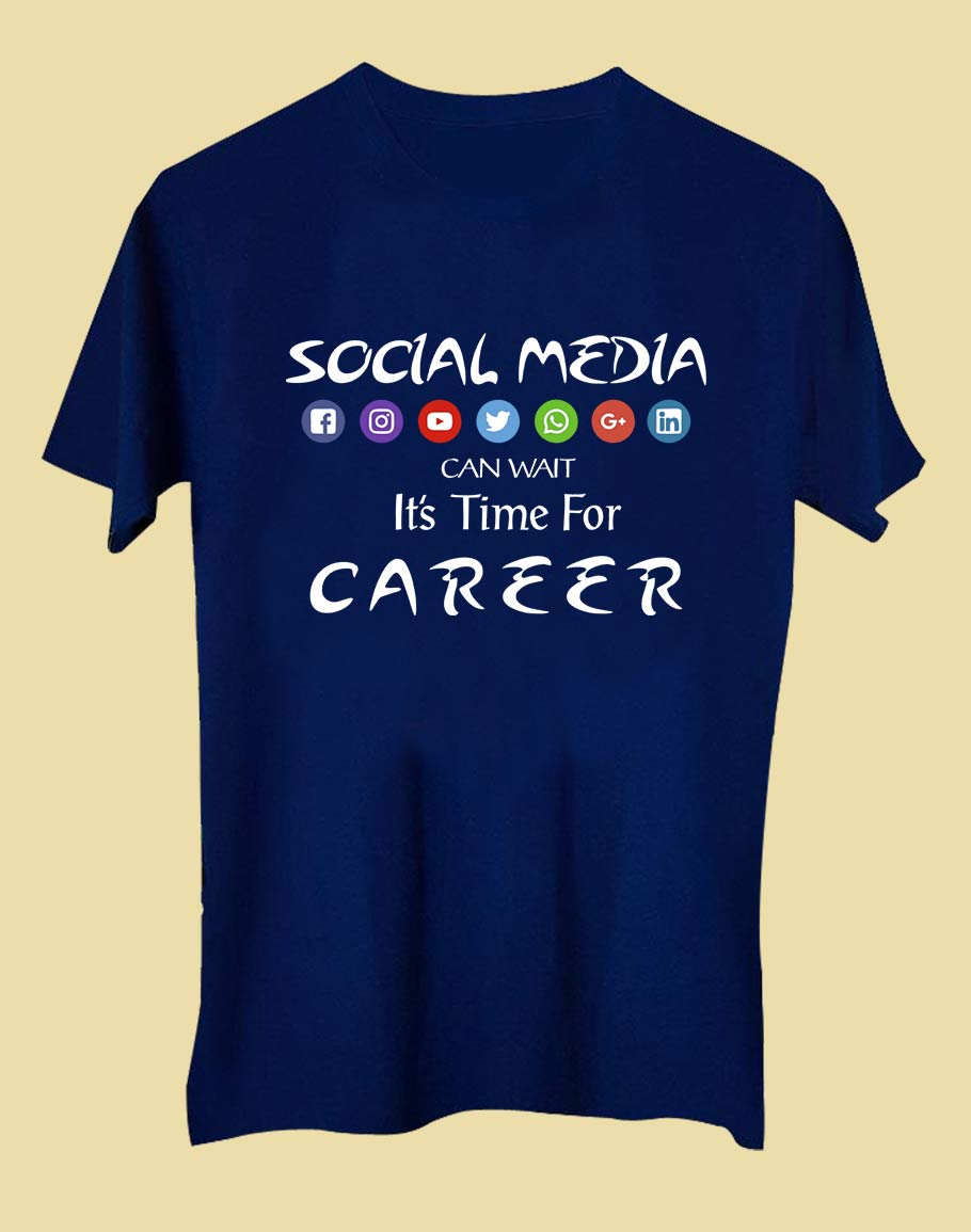 Social media Half Sleeve T-Shirt Navy Blue